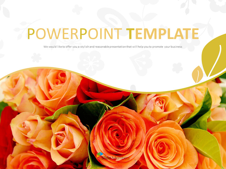 Free Google Slides Template - Bouquet of Scarlet Flower_01