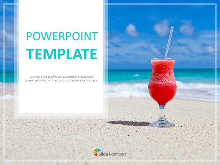 Google 슬라이드 무료 다운로드 - 여름 해변과 칵테일_01