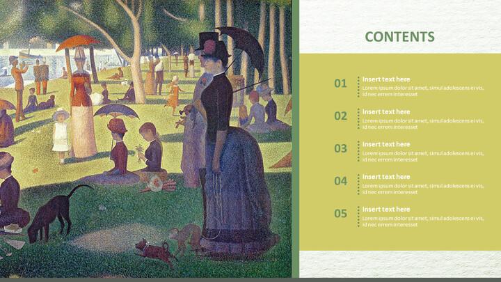 "Google 슬라이드 이미지 무료 다운로드 - Georges Pierre Seurat \""LA Grande Jatte 섬의 일요일 오후\""_02"