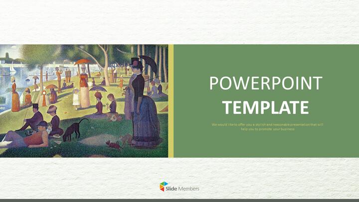 "Google 슬라이드 이미지 무료 다운로드 - Georges Pierre Seurat \""LA Grande Jatte 섬의 일요일 오후\""_01"