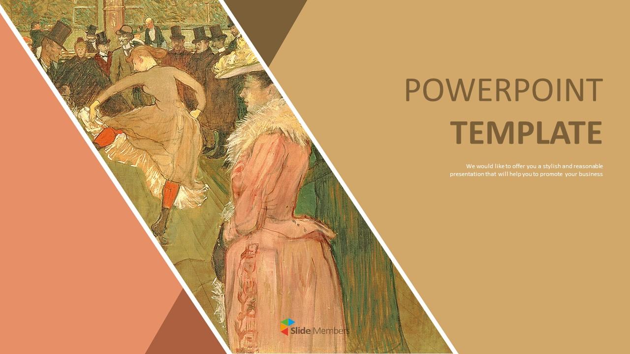 Henri De Toulouse Lautrec Le Danse Au Moulin Rouge Google Slides Template Free Download