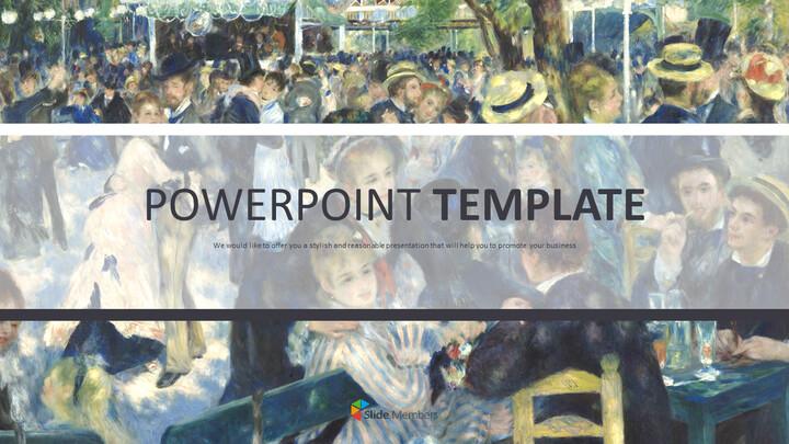 """Pierre-auguste Renoir \""""발 뒤 물랭 데 라 갈레트, 몽마르트르\"""" - 구글슬라이드용 무료 이미지_01"""