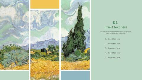 "Vincent Van Gogh \""사이프러스를 가진 밀밭\"" - 무료 프리젠테이션 템플릿_03"
