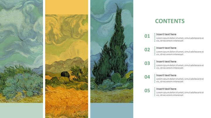 "Vincent Van Gogh \""사이프러스를 가진 밀밭\"" - 무료 프리젠테이션 템플릿_02"