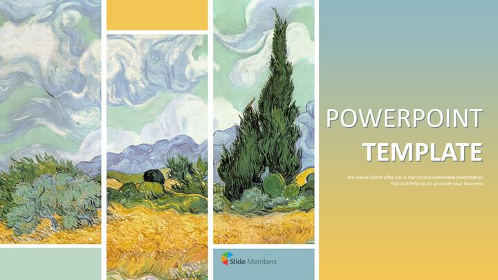 "Vincent Van Gogh \""사이프러스를 가진 밀밭\"" - 무료 프리젠테이션 템플릿_01"