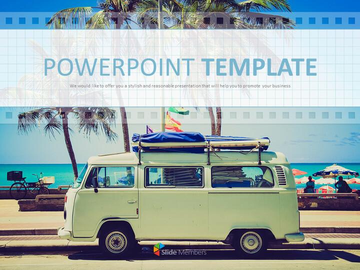 Google 슬라이드 템플릿 무료 다운로드 - 해변에서 캠핑 자동차_01