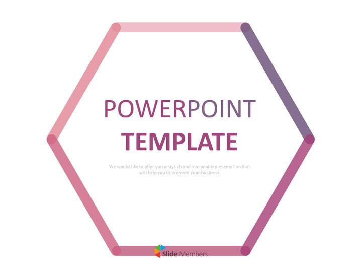 분홍색과 보라색 선으로 만든 육각형 - 무료 프리젠테이션 템플릿_01