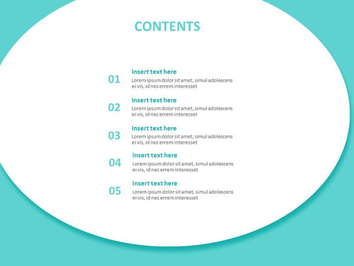 큰 청록색, 원형 연설 거품 - 무료 Google 슬라이드 템플릿 디자인_02