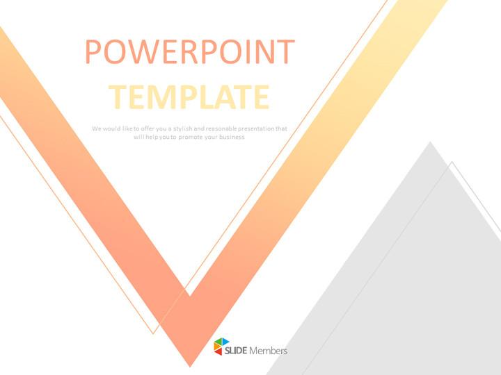 Free 프레젠테이션 템플릿 - 주황색과 노란색, 회색 삼각형으로 그라데이션 된 역 삼각형_01