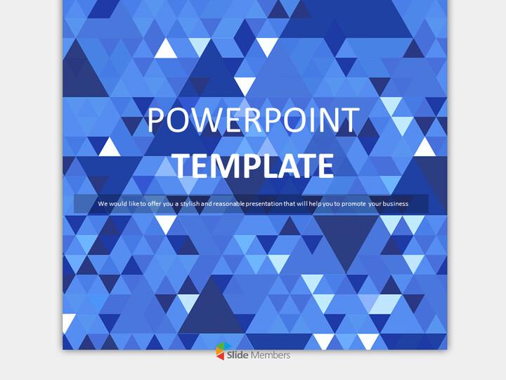 딥 블루, 스파클링 트라이앵글 - 무료 Google 슬라이드 템플릿 디자인_01