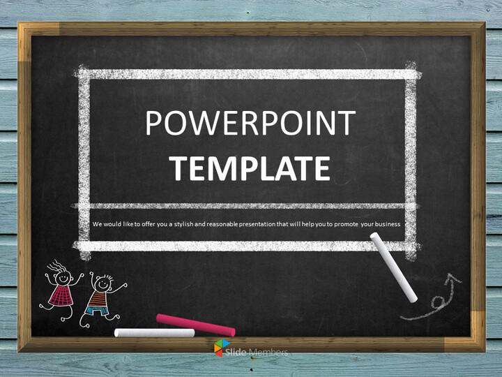 무료 구글 슬라이드 템플릿 디자인 - 칠판 및 어린이 교육_01