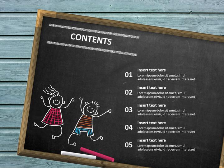 무료 구글 슬라이드 템플릿 디자인 - 칠판 및 어린이 교육_02