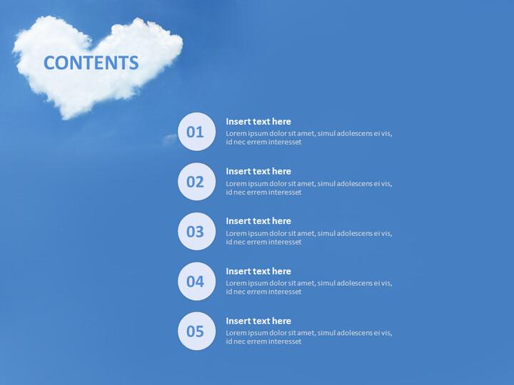 하늘 위에 하트 모양의 구름 - 무료 프리젠테이션 템플릿_02