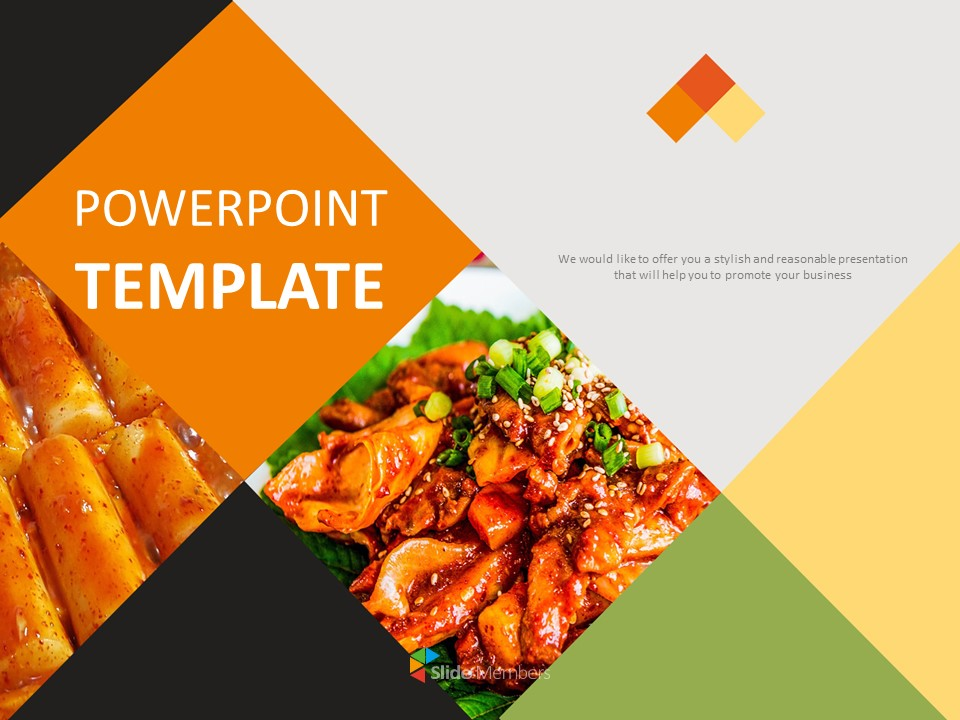 Korean Food Stir Fried Rice Cake Google Slides Template Free