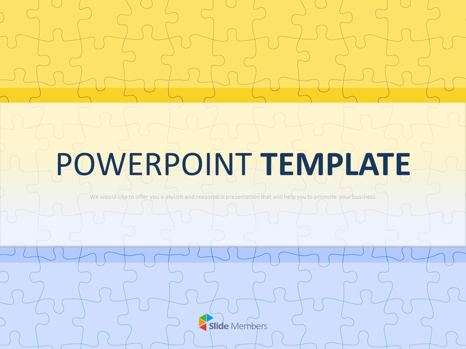 Free Google Slides Templates Yellow And Blue Puzzle Pattern