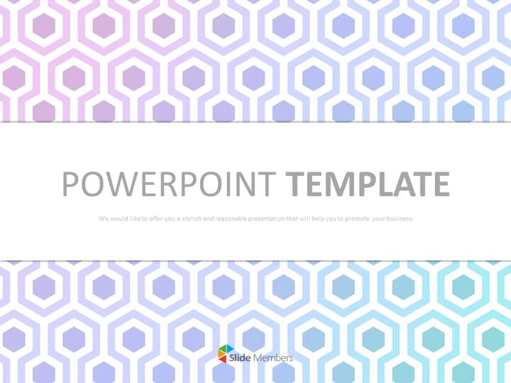 Google 슬라이드 템플릿 무료 다운로드 - 밝은 자주색 및 민트 그라데이션 육각형_01