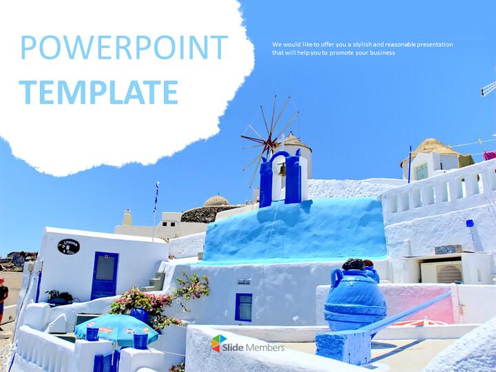 Google 슬라이드 이미지 무료 다운로드 - 블루 산토리니_01