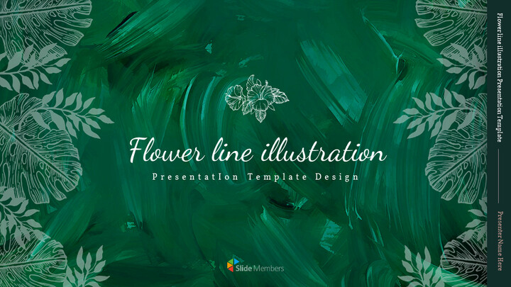 Flower line illustration Easy Slides Design_01