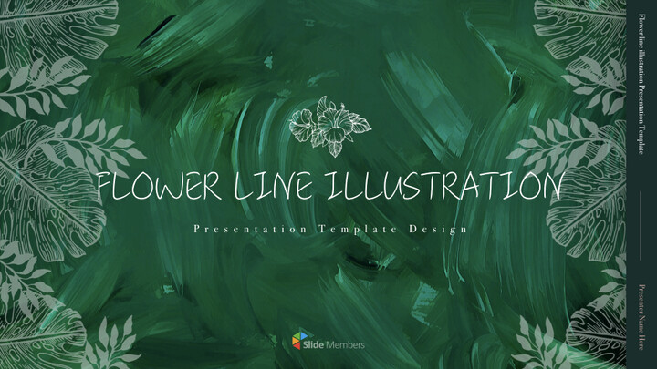 Flower line illustration Simple Keynote Template_01