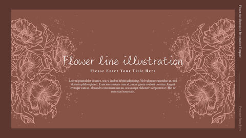 Flower line illustration Simple Keynote Template_02
