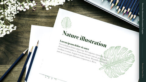 Flower line illustration Simple Keynote Template_05