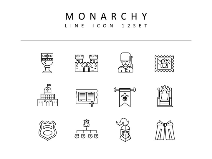 Monarchy Icons Set Vector_01