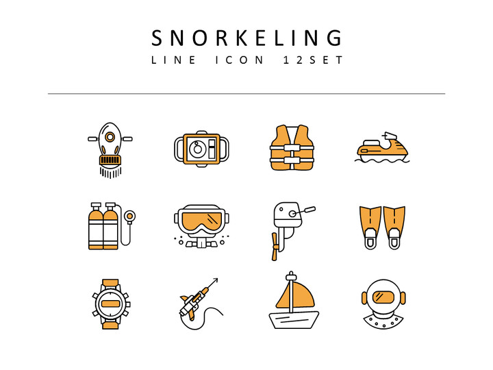 Snorkeling Vector Icons Set_02