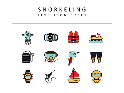 Snorkeling Vector Icons Set_03