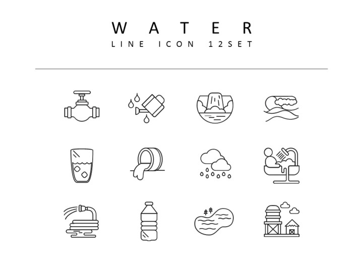 water Icons Set Vector_01