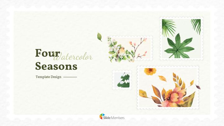Four Seasons Watercolor Design Presentation Google Slides Templates_01
