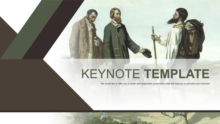 """Gustave Courbet & lt; LA Rencontre Ou \""""Bonjour Monsieur Courbet\""""> - 무료 키노트 템플릿 디자인_01"""
