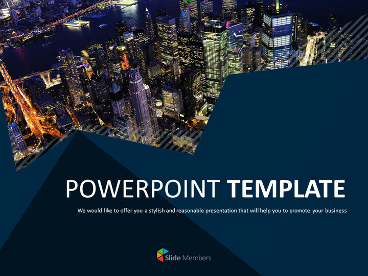 무료 PowerPoint 템플릿 - 뉴욕시의 야경_01