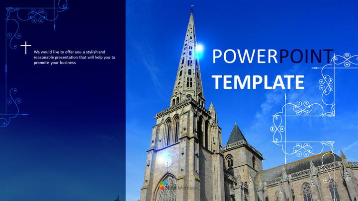 밝은 날에 가톨릭 교회 - 무료 파워포인트 템플릿_01
