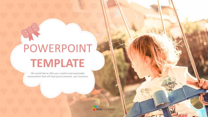 무료 파워포인트 템플릿 디자인 - 따뜻한 오후에 놀이터_01