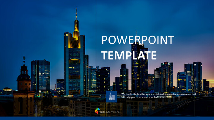 Free PPT Template Design - Night View of Skyscraper_01