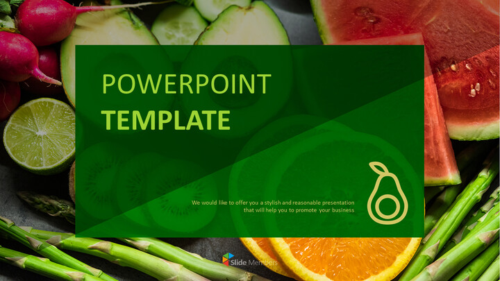 무료 파워포인트 템플릿 다운로드 - 신선한 과일과 야채_01