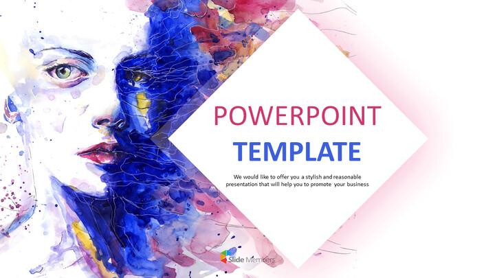 Free Powerpoint Template Design Portrait Watercolor
