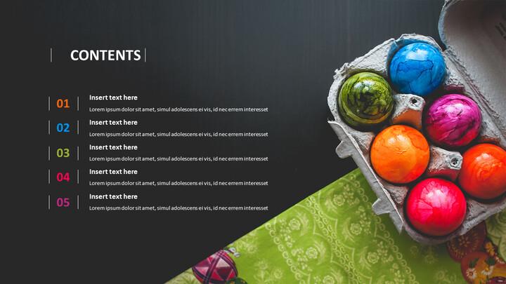 PPT 템플릿 무료 다운로드 - 다채로운 부활절 날 계란_02