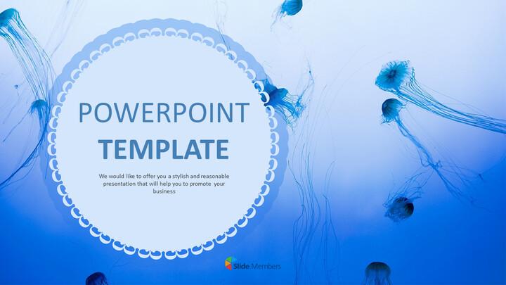 푸른 해파리 - 파워포인트 템플릿 무료 다운로드_01