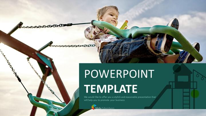 무료 PowerPoint 템플릿 디자인 - 어린이와 놀이터_01