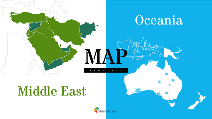 Oceania & Middle East Map Google PowerPoint Presentation_01