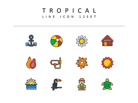 Tropical Icons Set Vector_03