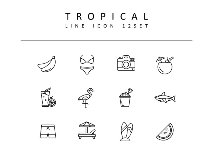 Tropical Icons Set Vector_01