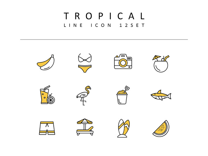 Tropical Icons Set Vector_02