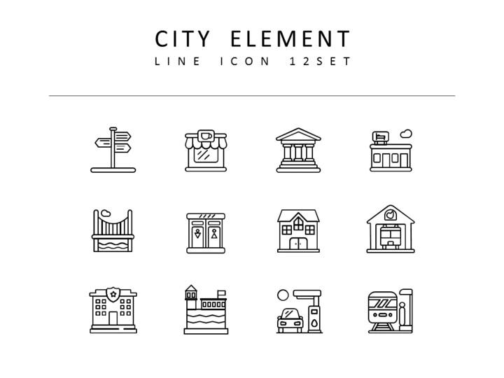 <span class=\'highlight\'>City</span> Element Vector Icons Set_01