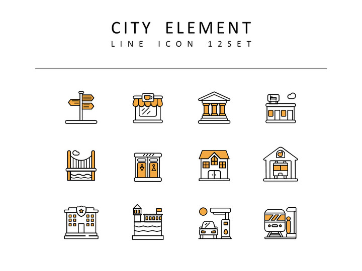 <span class=\'highlight\'>City</span> Element Vector Icons Set_02