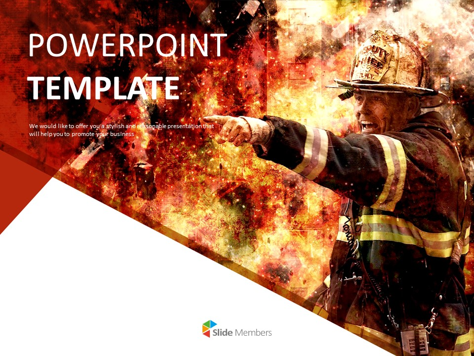 Free Presentation Templates Firefighter In The Flames