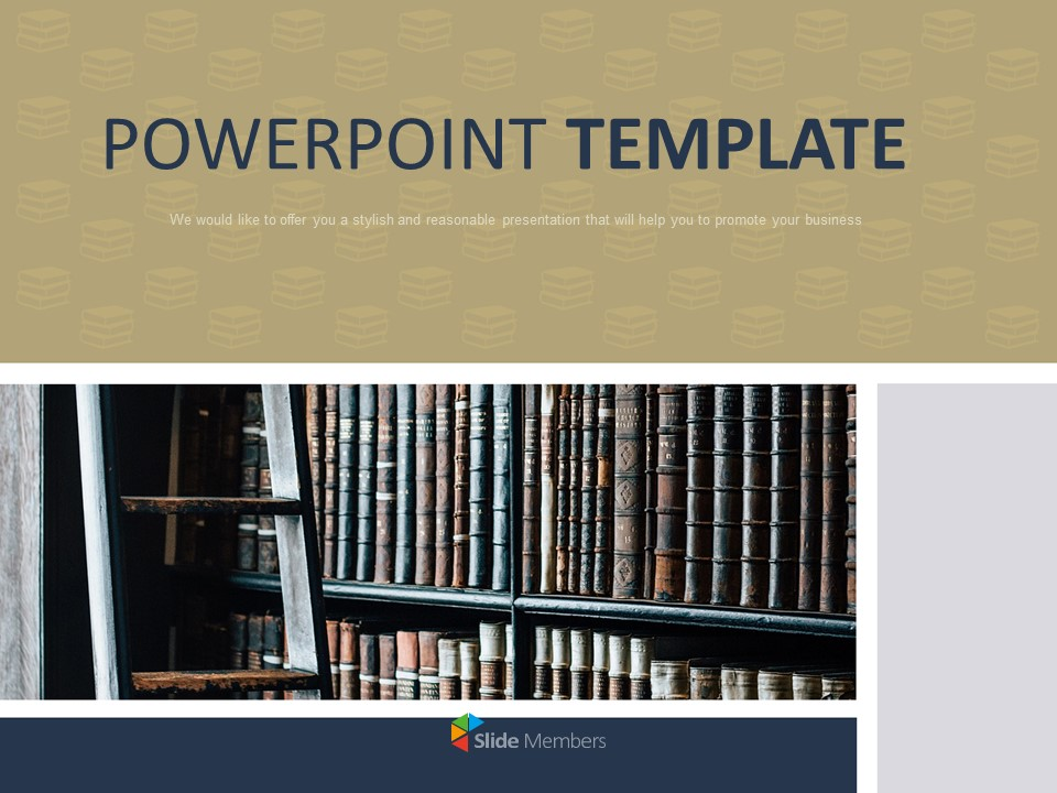 Free Ppt Sample Bookshelf In The Library