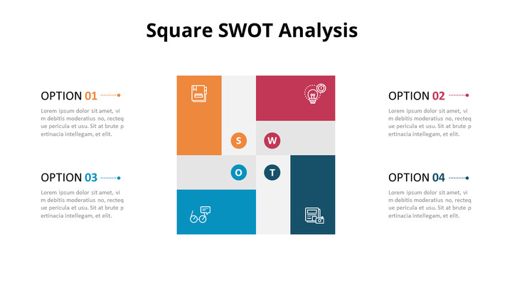 SWOT Analysis with Icons Diagram_02