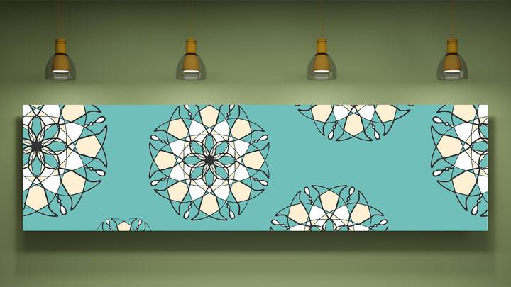 Green, Mint, sky blue Color Art wall Mockup PPT Design_01